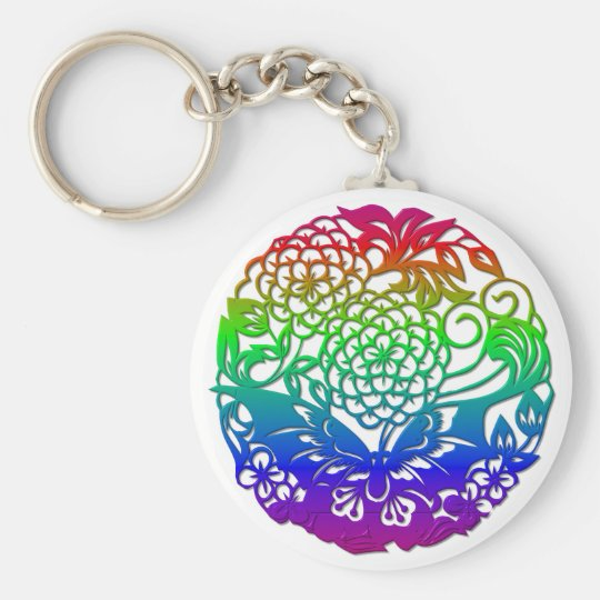 Butterfly and flowers keychain