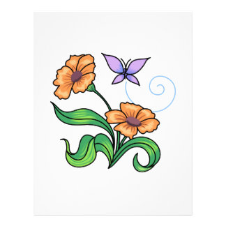 BUTTERFLY AND FLOWERS LETTERHEAD