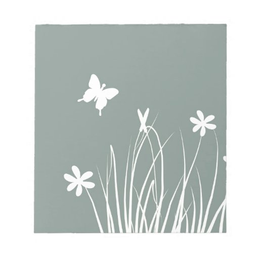 Butterfly and flowers meadow note pad