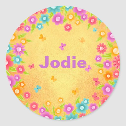 Butterfly and flowers name classic round sticker