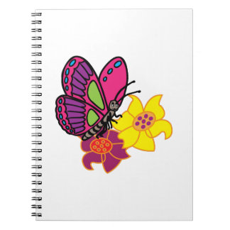 Butterfly And Flowers Spiral Notebooks