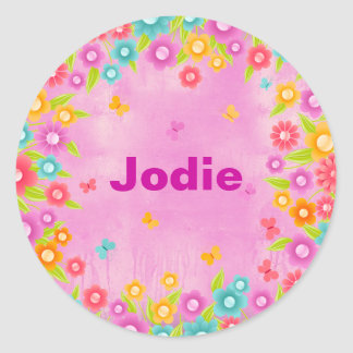 Butterfly and flowers party name classic round sticker