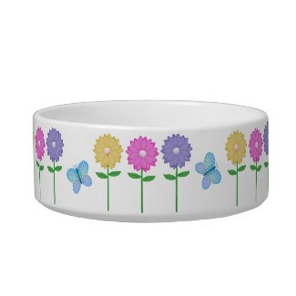 Butterfly and Flowers Pet Bowl petbowl