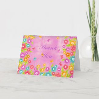 Butterfly and flowers pink wash thank you card card