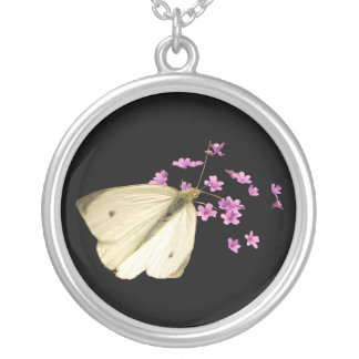 Butterfly and Flowers Silver Plated Necklace