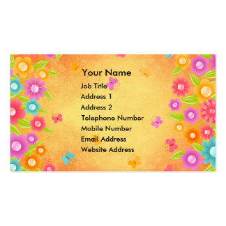 Butterfly and flowers summer orange burst business business card templates