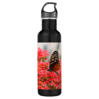 Butterfly and Flowers Water Bottle