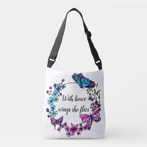 Butterfly and Flowers Wreath custom quote or name Crossbody Bag