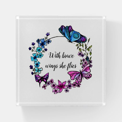 Butterfly and Flowers Wreath custom quote or name Paperweight