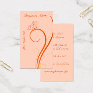 Butterfly and Fronds in Orange Business Card
