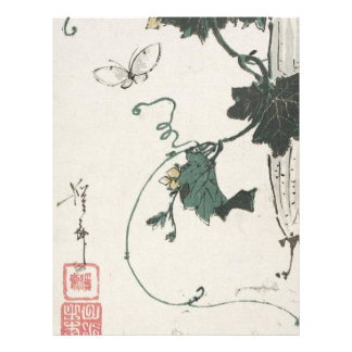 Butterfly and Gourd by Keisai Eisen Letterhead