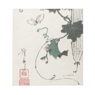 Butterfly and Gourd by Keisai Eisen Notepad