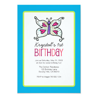 Butterfly and Hearts Birthday Party Invitaitons Card