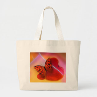 Butterfly and Hearts Large Tote Bag