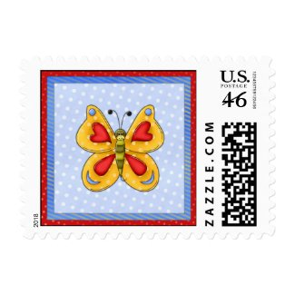 Butterfly And Hearts stamp