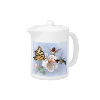 Butterfly and Hummingbirds Teapot