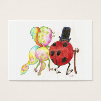 butterfly and ladybug tiny valentine business card