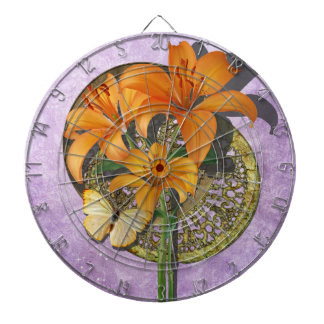 Butterfly and Lillies Dart Board