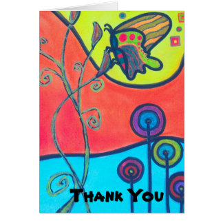 Butterfly and Lolipop Flowers Thank You Card