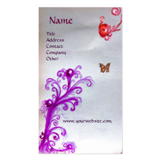 BUTTERFLY AND MAGIC RED PURPLE SWIRLS  MONOGRAM BUSINESS CARD