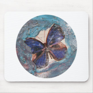 Butterfly and Melted Crayon Collage Mouse Pad