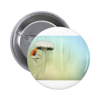 Butterfly And Mushrooms Button