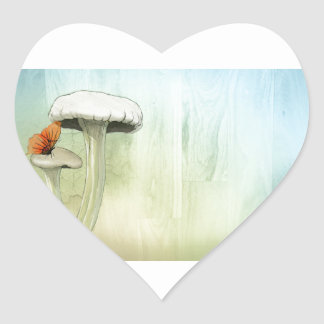 Butterfly And Mushrooms Heart Sticker