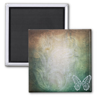Butterfly and Paisley Square Magnet
