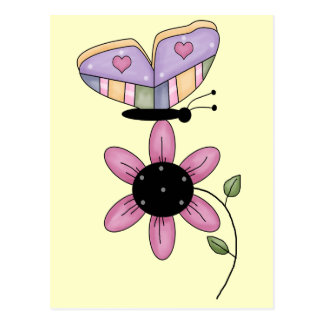 Butterfly And Pink Daisy Postcard