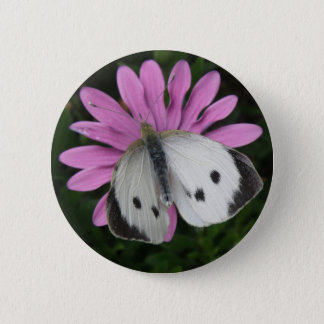 Butterfly and Pink Flower Button