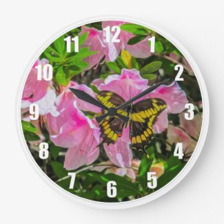 Butterfly and Pink Flower - Clock