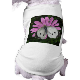 Butterfly and Pink Flower Dog T Shirt