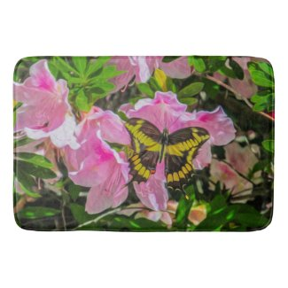 Butterfly and Pink Flowers - Bath Mat
