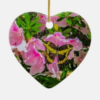 Butterfly and Pink Flowers - Christmas Ornaments