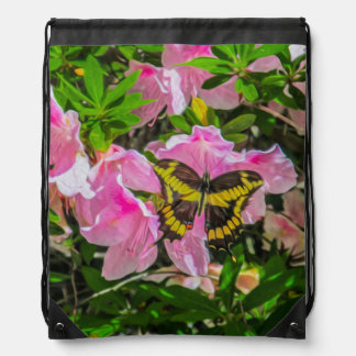 Butterfly and Pink Flowers - Drawstring Bag