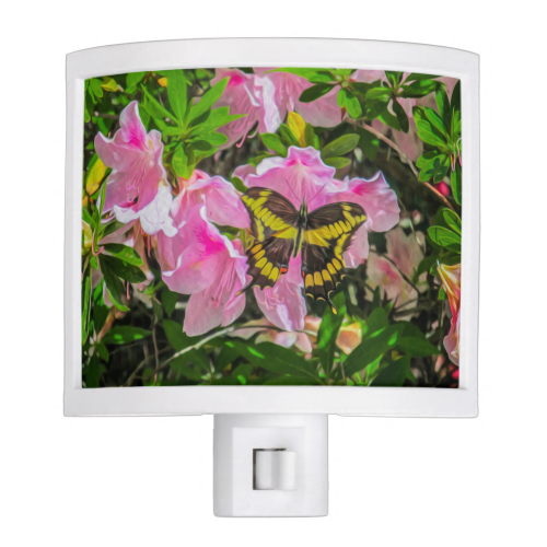 Butterfly and Pink Flowers - Night Light