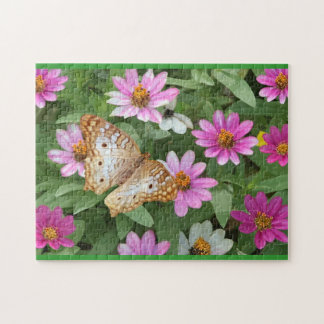 Butterfly and Pink Flowers Photograph Puzzle
