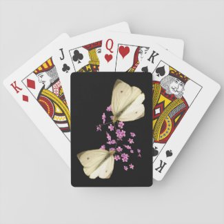 Butterfly and Pink Flowers Playing Cards