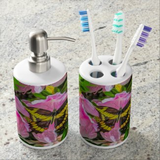 Butterfly and Pink Flowers - Tooth Brush Holder