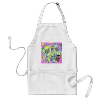 Butterfly and Pink Pansy Design Adult Apron