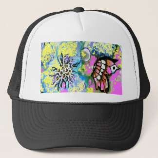 Butterfly and Pink Pansy Design Trucker Hat