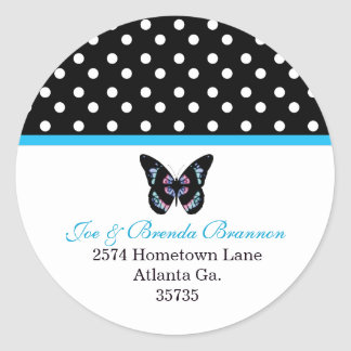 Butterfly and Polka Dots Address Labels Classic Round Sticker