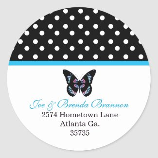 Butterfly and Polka Dots Address Labels sticker
