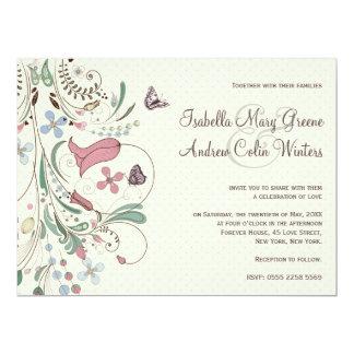 "Butterfly and Polka Dots Wedding Invitation 6.5"" X 8.75"" Invitation Card"