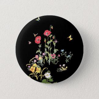 Butterfly and Poppy Flower Garden Button