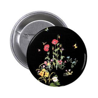 Butterfly and Poppy Flower Garden 2 Inch Round Button