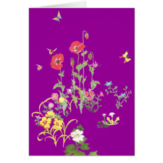 Butterfly and Poppy Flower Garden Card