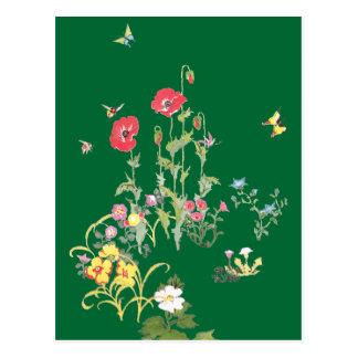 Butterfly and Poppy Flower Garden Postcard