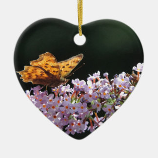 Butterfly and purple flower ceramic ornament