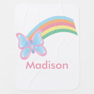Butterfly and Rainbow Customizable Swaddle Blanket